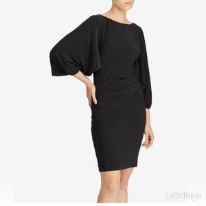 Ralph Lauren Black Jersey Rufflle Slv Sheath Dress